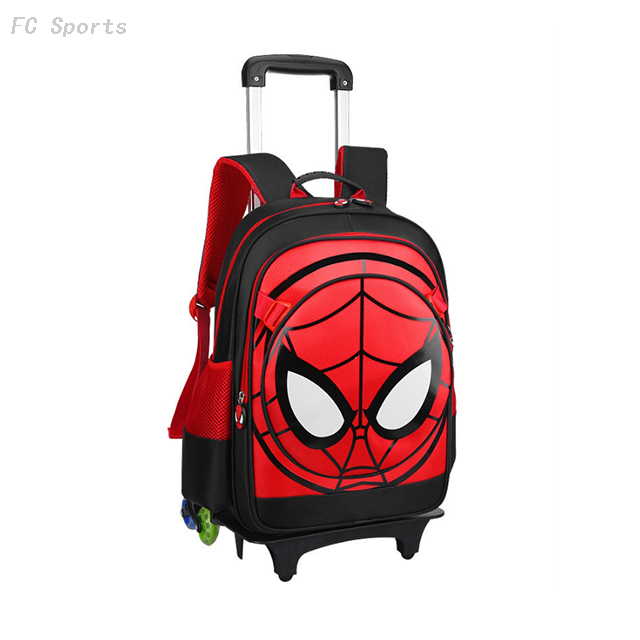 Cartoon Spiderman school Bag Detachable Backpack school trolley backpack