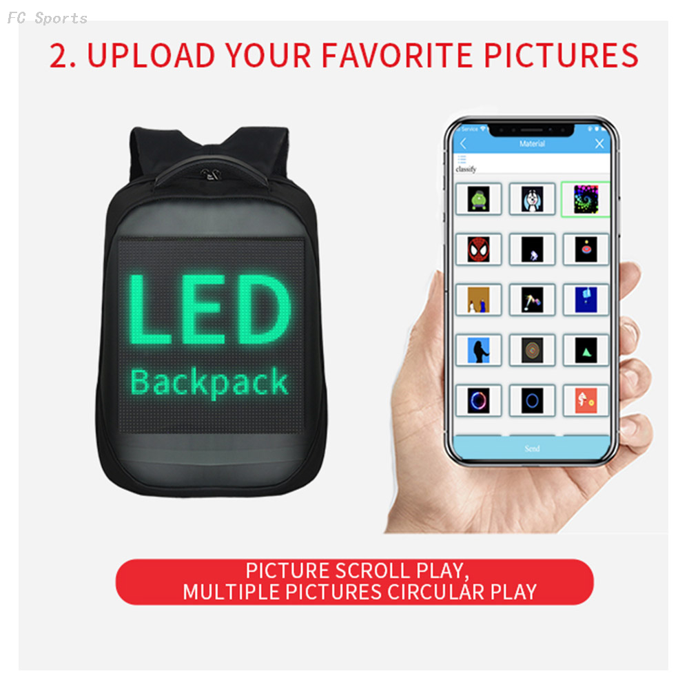 Trend Newest Waterproof Phone WIFI Control Software Editing Smart Led backpack