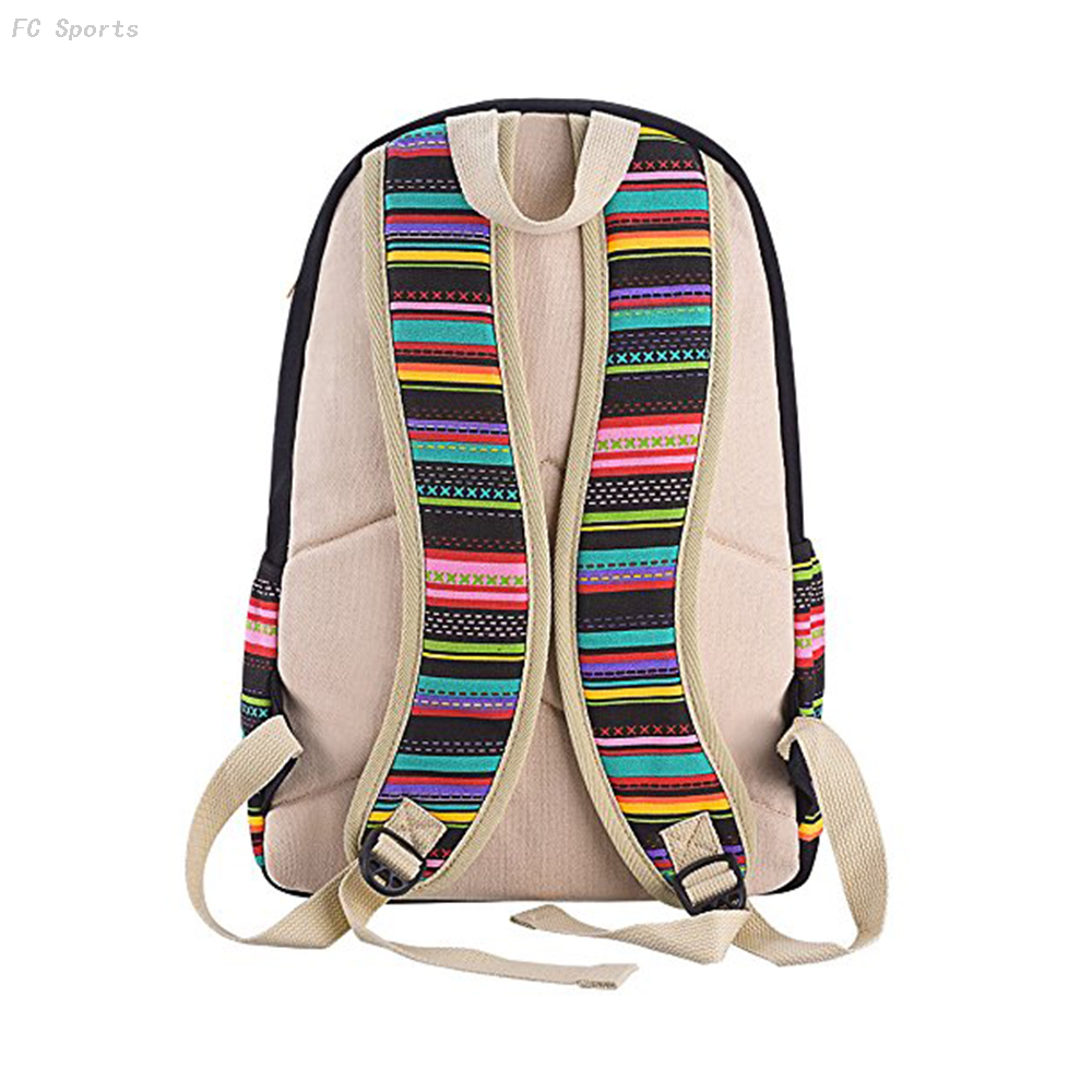 Factory promotion wholesale custom vintage canvas ladies backpack