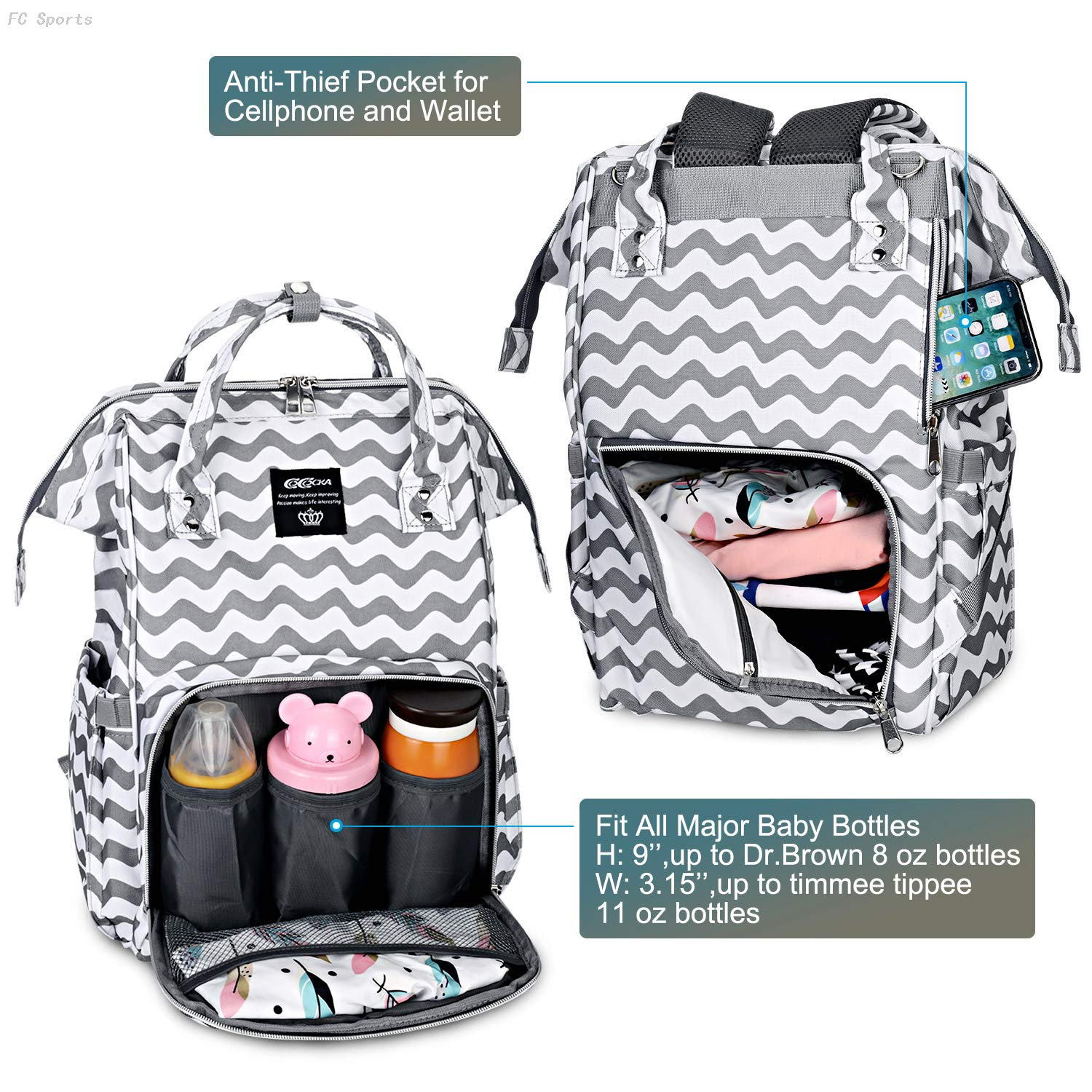 Large Baby Bag with Changing Pad Travel diaper bag backpack usb