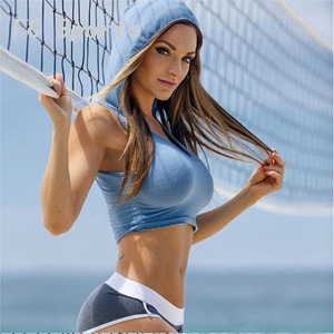 Women Sports Top With Hat Sexy Sportswear Crop Sleeveless O Neck Hoodie Suit Gym Female Short Blue T-Shirt Fitness Jogging Suits