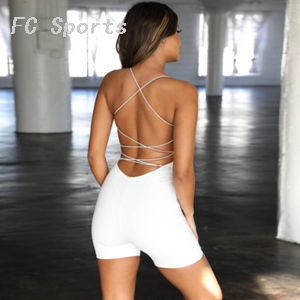 Sexy cut out yoga wear women's sports overalls fitness jumpsuit white bandage jumpsuit for yoga fitness overalls gym clothing