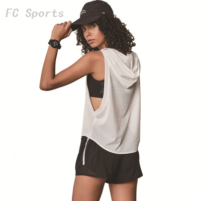 Sleeveless Breathable Smock Hooded Mesh Quick-drying Vest Outdoor Sports Fitness Yoga Clothing