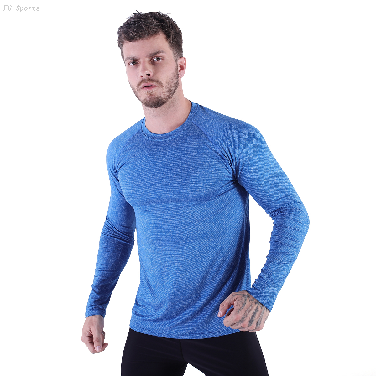 FC Sports Men Gym Yoga Train Wear Running Active Garments Long Shirts Round Neck Tops