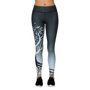 Printed Yoga Pants High Waist Fitness Plus Size Workout Leggings for Women Yoga Gym Atheletic Pants, Small Order, Stocklots,BLACK/WHITE AOP