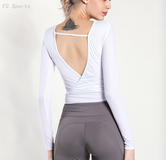 Beauty back sports long-sleeved yoga wear shirt women quick-drying casual workout clothes