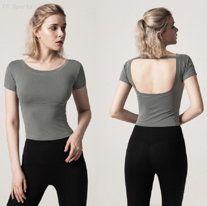 Modal yoga wear sports Short Sleeve Yoga Tops Backless Sports Fitness T-Shirts