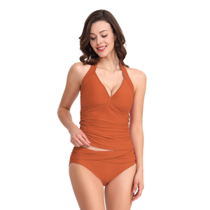 FC Sports Swimwear Tankini Two Piece Bathing Suits Women V Neck Swimsuit for Beach Summer Sexy Wear