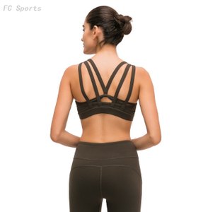 Solid color sports underwear women Yoga fitness multi-shoulder belt shock-proof gathered sports bra