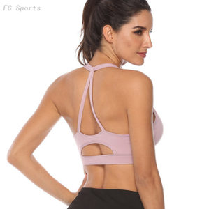 Solid color beauty back shock sports underwear women running training thin belt yoga bra