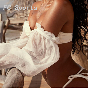 Bikinx Long sleeve woman bikinis 2019 mujer bathers White bathing suit Bandeau top swimwear women Sexy strapless swimsuit female